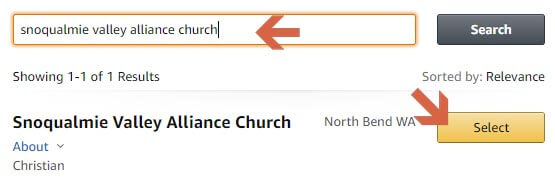 Search for Snoqualmie Valley Alliance Church on Amazon Smile