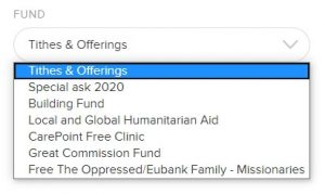 Choose giving fund